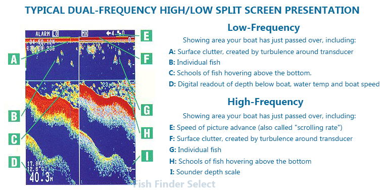 reading a fish finder screen